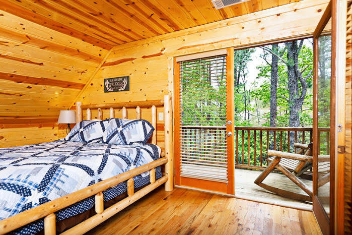 Master bedroom with deck access - 8 bedroom cabins in north georgia ...
