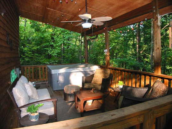 Wooded view from Outdoor Livingroom