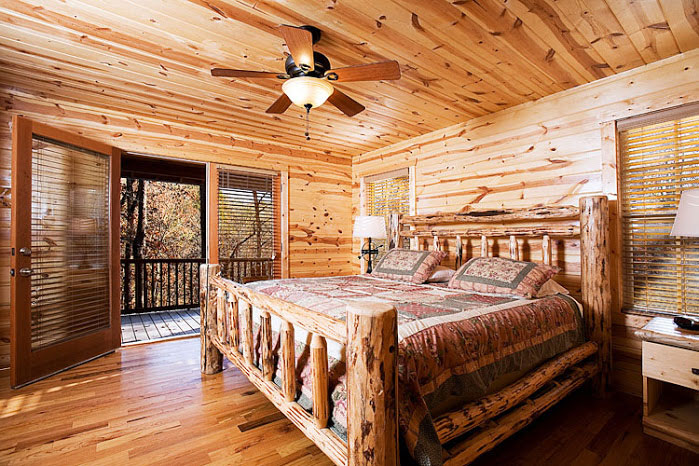 Master Bedroom -- Authentic Log Bed