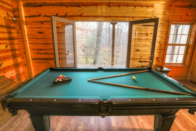 Pool Table Opens To Waterfall
